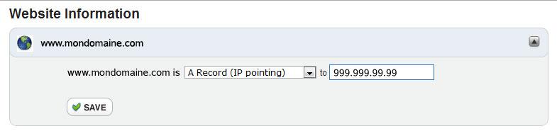 Configurer adresse IP de redirection