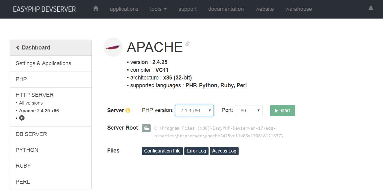 Démarrage serveur HTTP