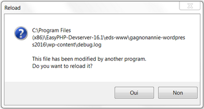 Notepad++ : This file has been modified by another program. Do you want to reload it?