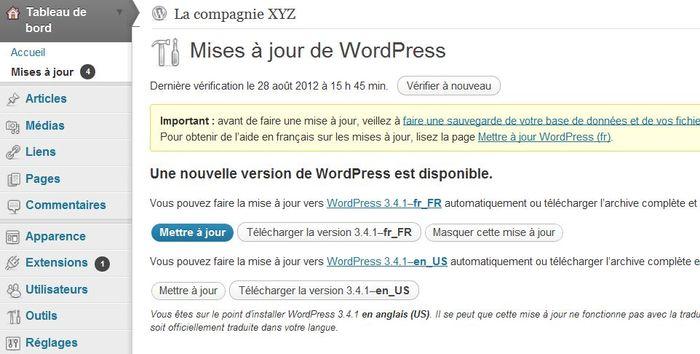 WordPress-AvertissementMiseAJour