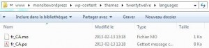 Fichiers de traduction WordPress