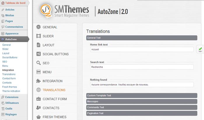 Éléments traduisibles dans le tableau de bord WordPress