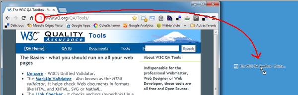 Raccourci vers un site Web