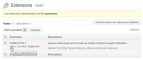 WordPress : Activer l'extension Contact Form 7