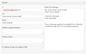 Contact Form 7 - configurer les courriels envoyés