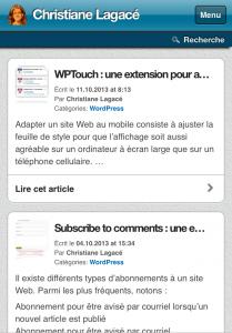 WPTouch-Afficher les extraits