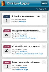 Site Web avec WPTouch - apparence ajustée