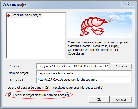 CodeLobster : nouveau projet PHP pur