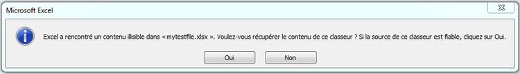 Erreur PHPExcel : Excel a rencontré un contenu illisible