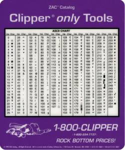 Accéder à « La charte ASCII et la charte ASCII étendue »