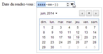 "input type=""date"" avec calendrier"