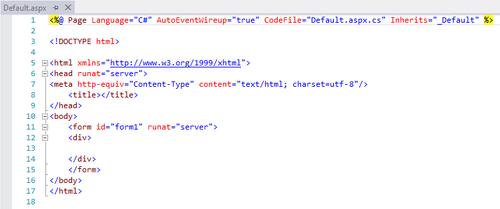 Code initial du fichier .aspx