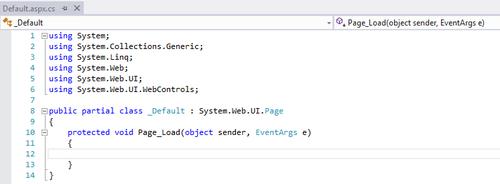 Code initial du fichier .aspx.cs
