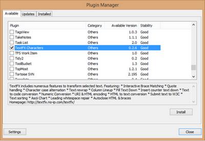 Sélectionner TextFX dans le plugin manager