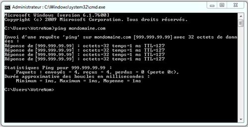 Ping pour voir si le nom de domaine pointe bien sur le serveur