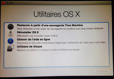 HD Recovery - Menu Utilitaires OS X