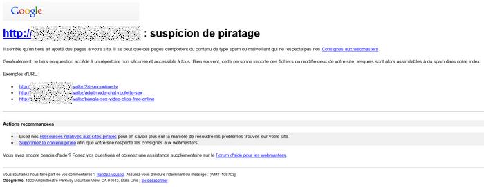 Courriel des outils Google pour Webmestre indiquant que le site a été piraté
