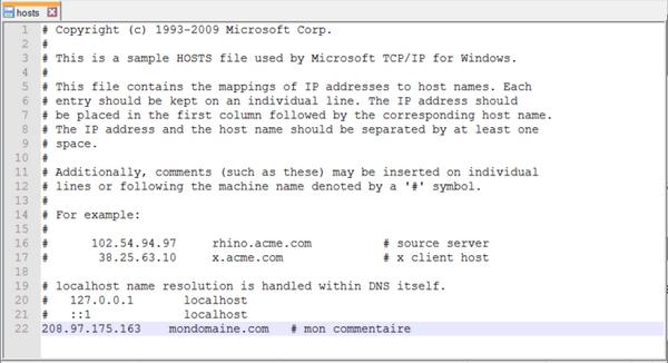 Accéder à « Ajouter une entrée dans le fichier hosts de notre »