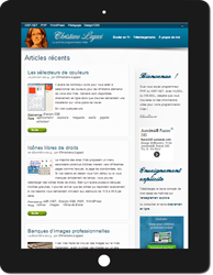Maquette du site sur tablette