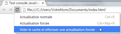 Modes d'actualisation sous Chrome