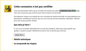 Avertissement de certificat non vérifié