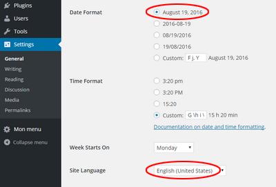 Configurations pour WordPress anglais et format de date