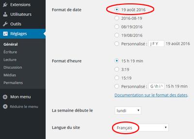 Accéder à « Internationaliser les formats de date dans WordPre »