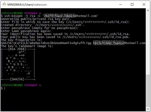 Génération de la clé SSH