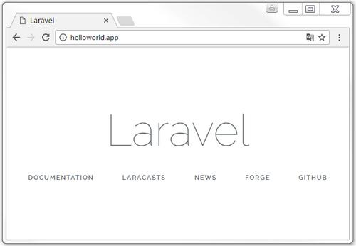 Page d'accueil du projet Laravel