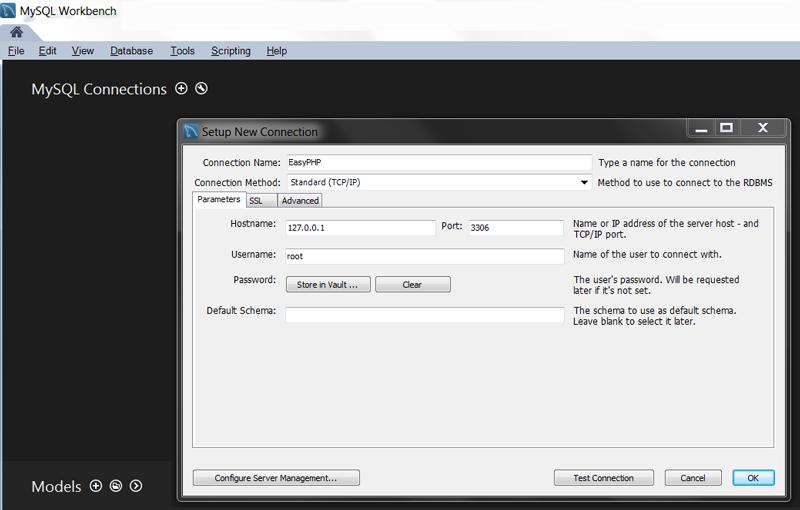 MySQL Workbench pour EasyPHP