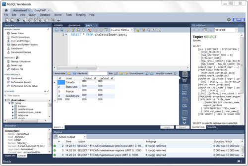 Accéder à « Installation et configuration de MySQL Workbench »