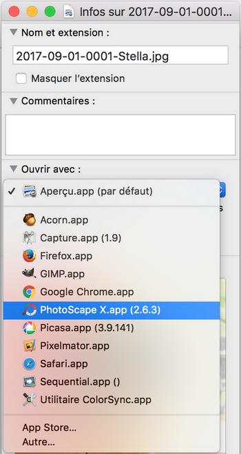 PhotoScape X comme application par défaut