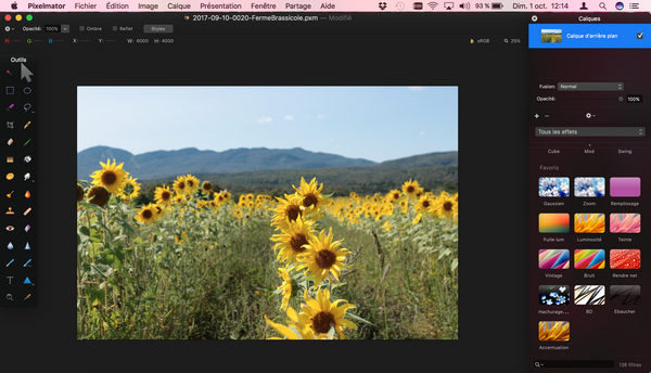 Interface de Pixelmator